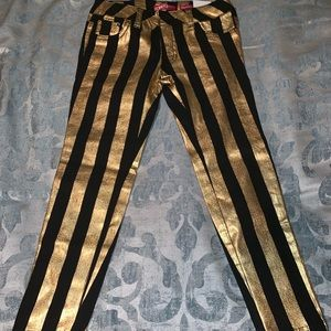 NEW! Gold Glitter Stripe Jeggings by Bongo